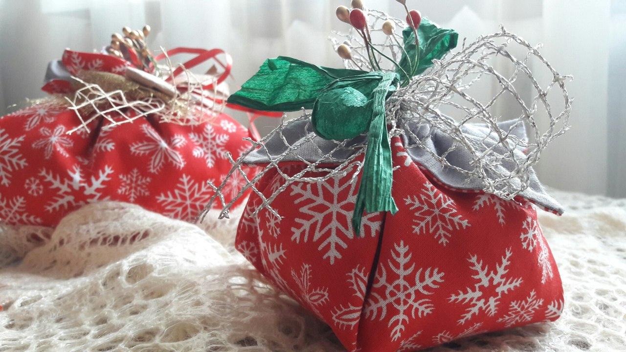 Как сделать новогодние мешочки своими руками 2